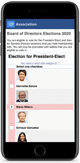 Voting ballot on mobile phone